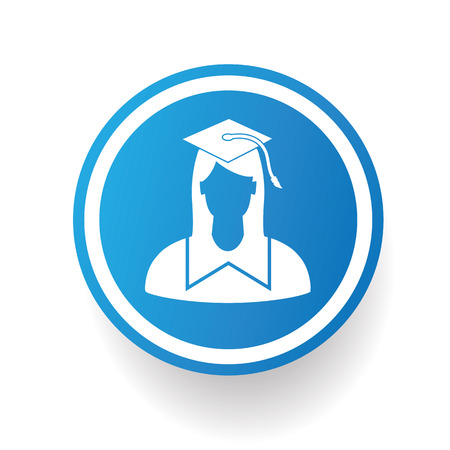 college student: Student on blue button background,on white background,clean vector Illustration