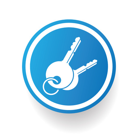 Key on blue button backgroundon white backgroundclean vector Vector