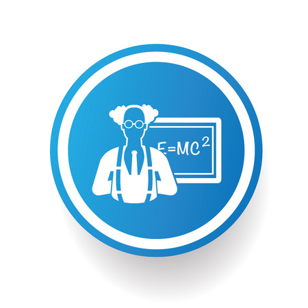 Scientist on blue button backgroundon white backgroundclean vector Vector