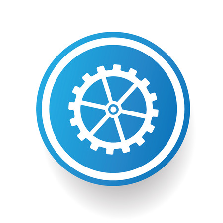 Gear on blue button backgroundon white backgroundclean vector Vector