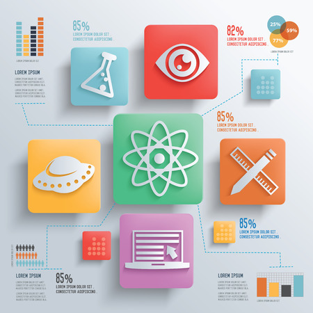 separating funnel: Science and education concept design clean backgroundclean vector