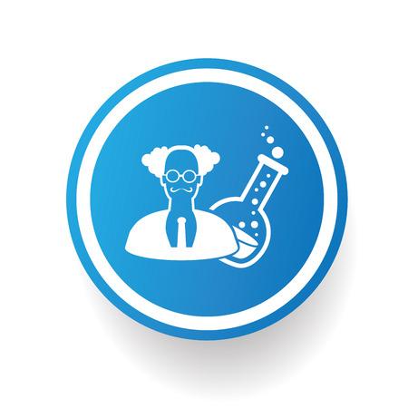 Scientist on blue button backgroundon white backgroundclean vector Illustration