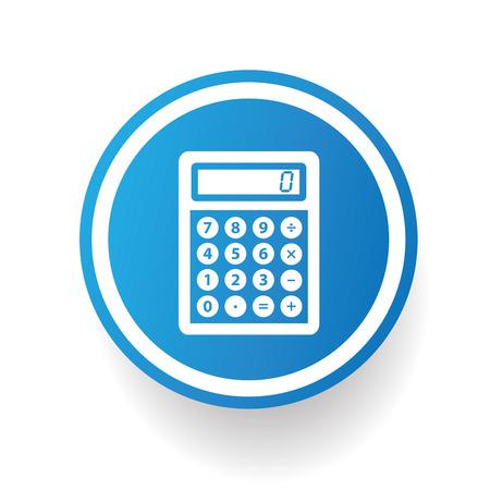 Calculator on blue button backgroundon white backgroundclean vector Vector