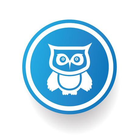Owl on blue button backgroundon white backgroundclean vector Vector