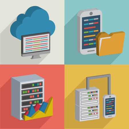 compute: DatabaseData serverflat icons designclean vector