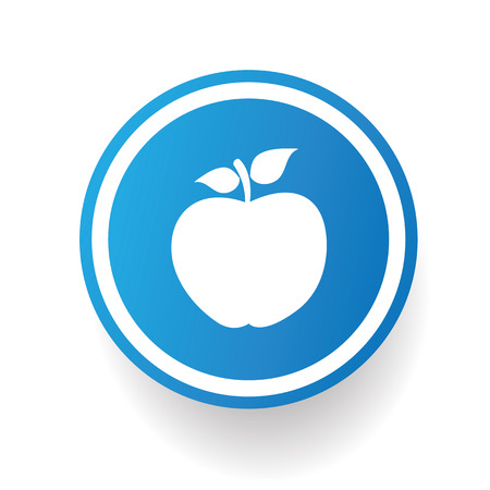 Apple on blue button backgroundon white backgroundclean vector Illustration