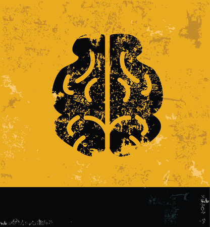 head wise: Brain design concept on yellow grunge backgroundvector