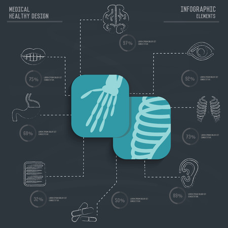 dna graph: XrayMedical infographic design on old paper backgroundclean vector