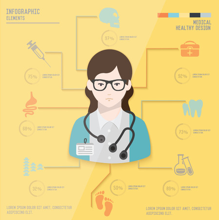 Medical infographic design on yellow paper backgroundclean vector Vector