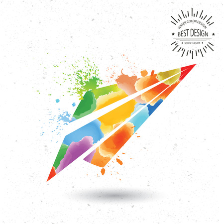 Rocket designwatercolour concept on oldwhite backgroundclean vector Vector