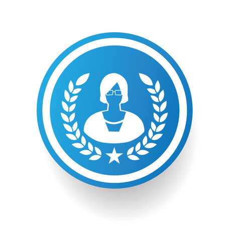 Woman on blue button backgroundon white backgroundclean vector Vector