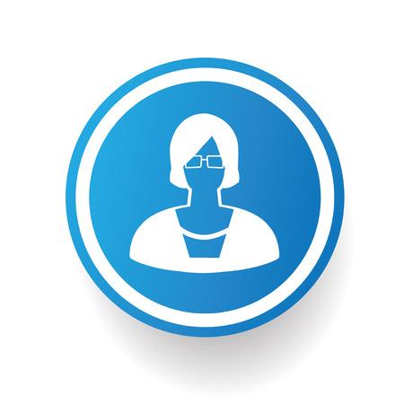 adviser: Woman on blue button backgroundon white backgroundclean vector Illustration