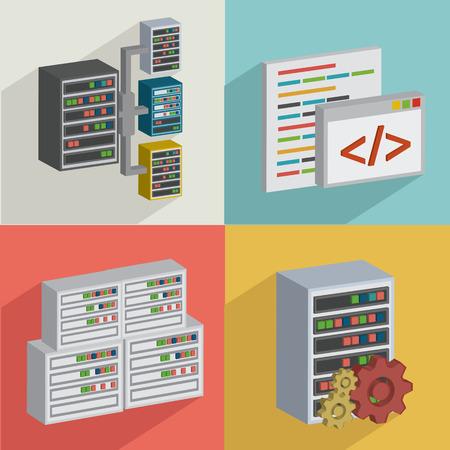 DatabaseData serverflat icons designclean vector Vector