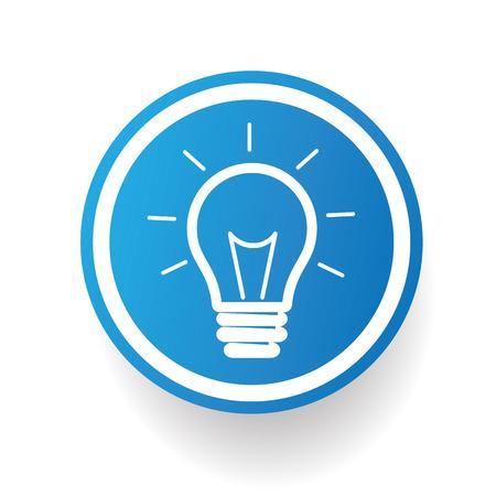 Light bulb on blue button backgroundon white backgroundclean vector Vector