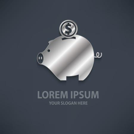 vector elements: Piggy bank design   templatesilvermetal concept designclean vector