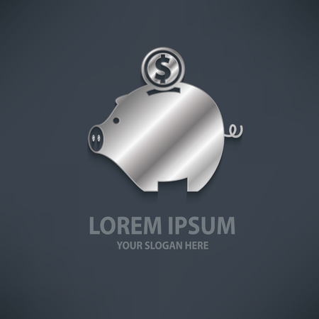 Piggy bank design   templatesilvermetal concept designclean vector Banco de Imagens - 41252705