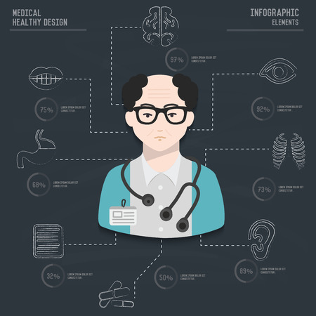 Medical infographic design on old paper backgroundclean vector Vector