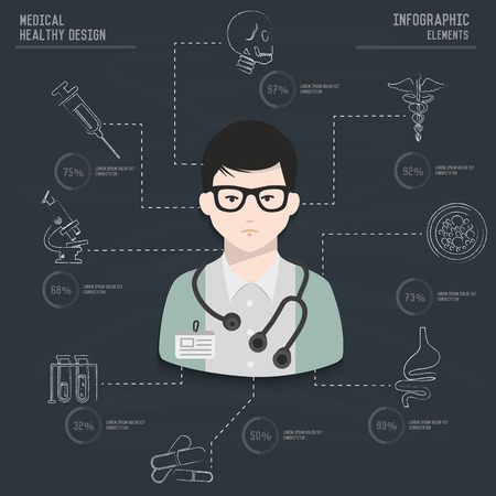 Medical infographic design on old paper backgroundclean vector