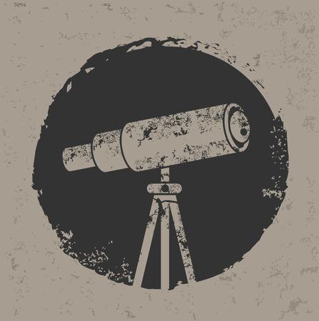 ocular: Telescope design on old backgroundgrunge vector Illustration