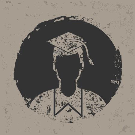 alumnus: Student symbol on grunge designgrunge vector