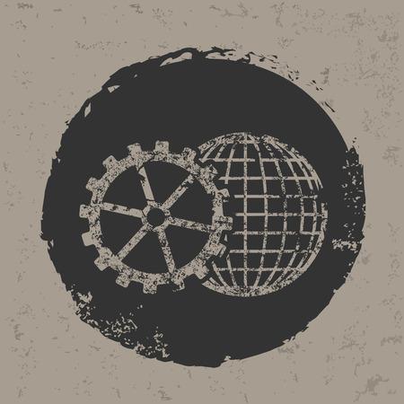 Global gear symbol on grunge designgrunge vector Vector