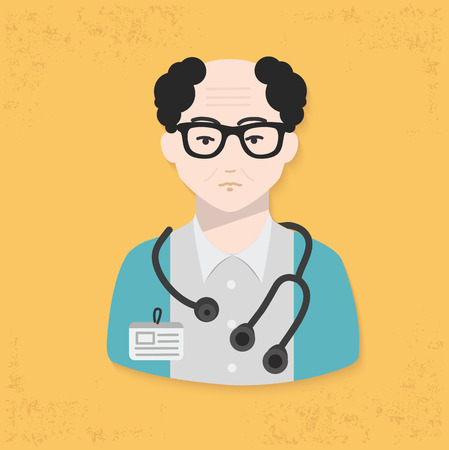 researches: Doctor design on yellow background clean