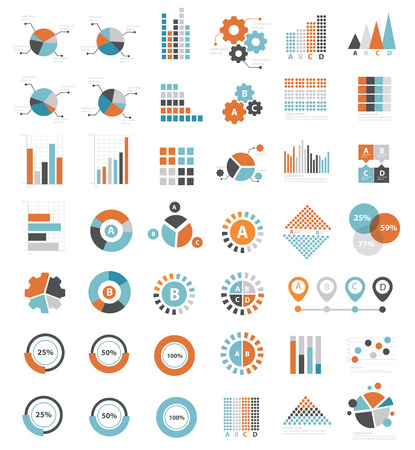horizontal bar: Data analysis icons on white background clean