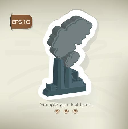 environmen: Factory sticker design on old background Illustration
