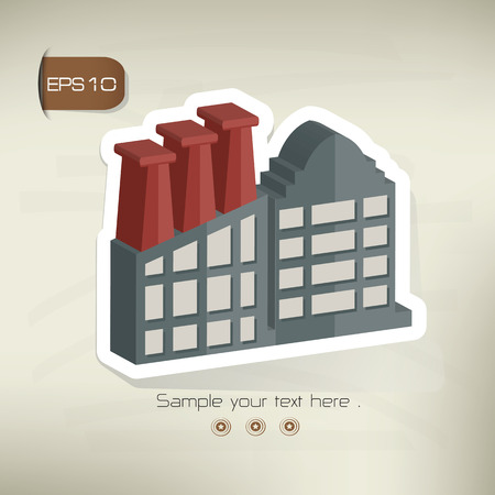 environmen: Factory sticker design on old backgroundvector Illustration