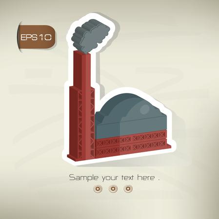 distill: Factory sticker design on old backgroundvector Illustration