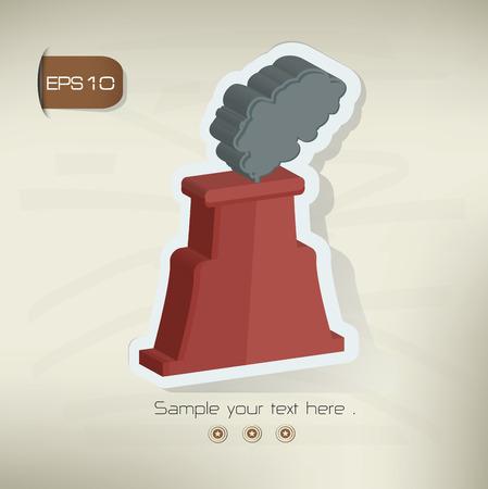 distill: Nuclear sticker design on old backgroundvector