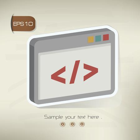 Coding sticker design on old backgroundvector