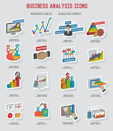 Business analysis icon set sticker design on old backgroundvector