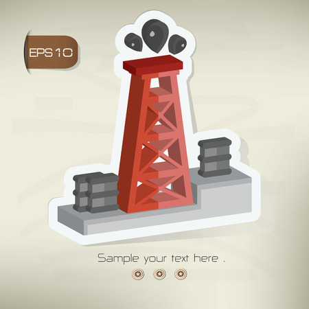 Oil industry sticker design on old backgroundvector Vector
