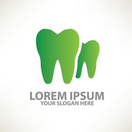 dental assistant: Tooth logo template design on clean backgroundvector