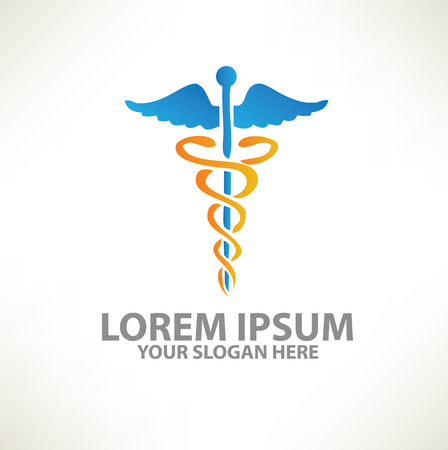 Medical logo template design on clean backgroundvector Çizim
