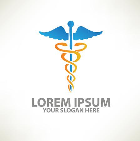 Medical logo template design on clean backgroundvector Illustration