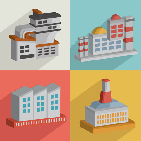 Factory and industryflat icons designclean vector Vector