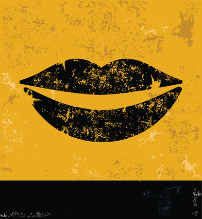 Mouth design concept on yellow grunge background