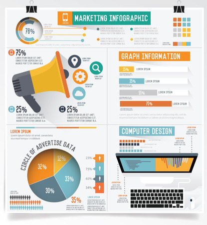 Business marketing info graphic on clean background Çizim