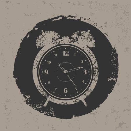 Clock design on grunge background grunge