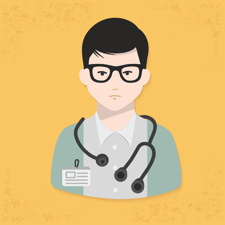 clinical staff: Doctor design on yellow background