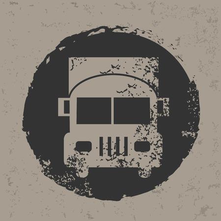 Truck design on grunge background Vector