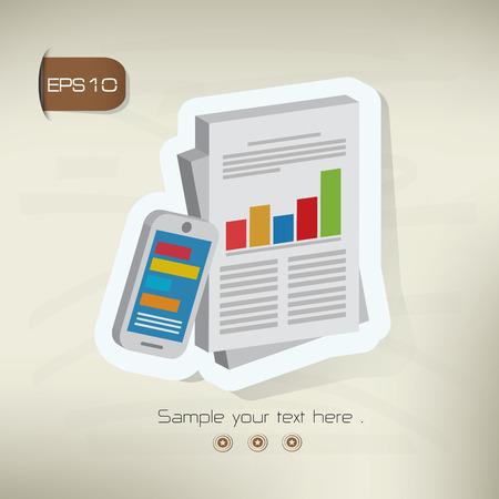 old background: Business analysisdata analysis design sticker concept on old background