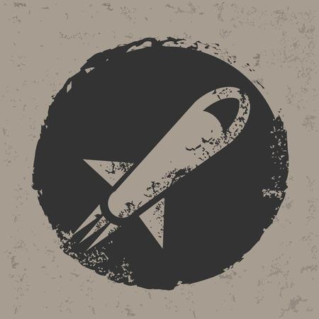 Rocket design on grunge background  Vector