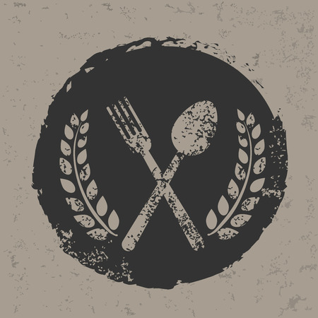 homemaker: Spoon badge design on grunge background