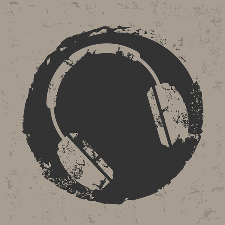 Earphone design on grunge background  Illustration
