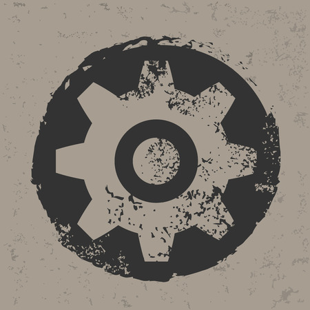 grunge shape: Gear design on grunge background