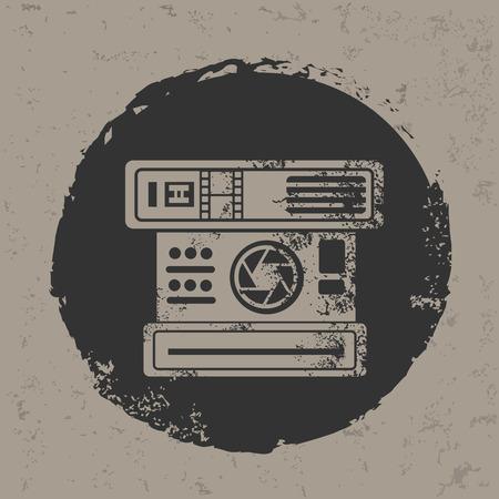 Old camera design on grunge background grunge vector Vector