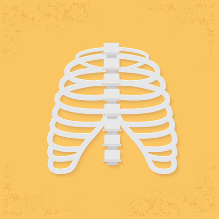 chest pain: Rib design on yellow background clean